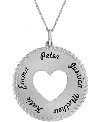 Personalized Sterling Silver Round Disc Heart Pendant Necklace, One Size , White