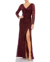 Women's MAC Duggal Sequin Lace High Slit Long Sleeve Sheath Gown, Size 12 - Red