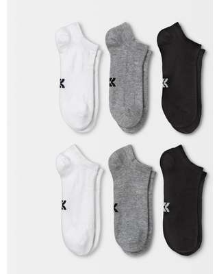 Women's Extended Size Lightweight Active Mesh 6pk No Show Athletic Socks - All in Motion - White/Heather Gray/Black 8-12, Women's, Size: Small, White/