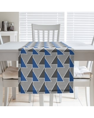 Color Accent Shifted Arrows Table Runner (16 x 72 - Cotton Blend - Blue)