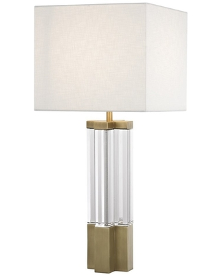 Antique Brass Metal Table Lamp Clear Crystal Body and White Linen Shade