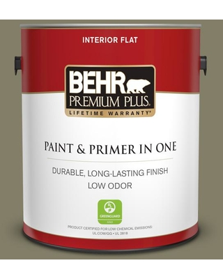 BEHR PREMIUM PLUS 1 gal. #QE-37 Knotweed Flat Low Odor Interior Paint and Primer in One