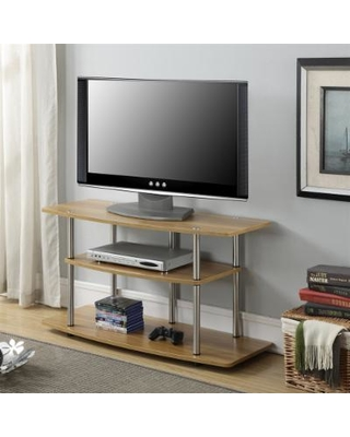3 Tier Wide TV Stand in Light Oak Finish - Convenience Concepts 131031LO