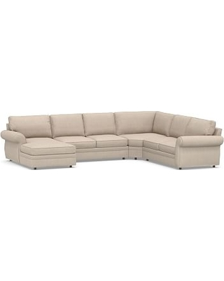 Pearce Square Arm Upholstered Right Arm 4-Piece Wedge Sectional, Down Blend Wrapped Cushions, Sunbrella(R) Performance Sahara Weave Oatmeal