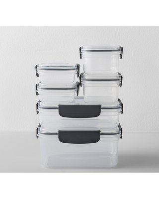 Rectangular Plastic Food Storage Container 12pc   Made By Design, Clear