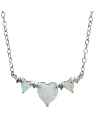 Sterling Silver Birthstone Three Hearts Pendant Necklace (April - Topaz)
