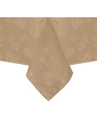 """Elrene Home Fashions Elegant Woven Leaves Jacquard Damask Fabric Tablecloth for Fall/Harvest/Thanksgiving, 60"""" x 84"""" Oblong, Taupe"""