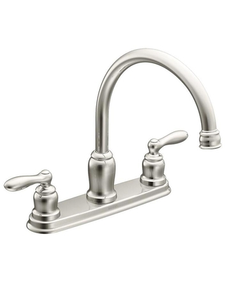 Moen Caldwell Chrome 2-Handle Deck-Mount High-Arc Handle Kitchen Faucet (Deck Plate Included) | 87859
