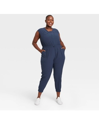 Women's Plus Size Short Sleeve Jumpsuit - All in Motion Navy 2X, Blue