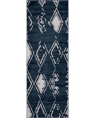 0 Runner Rug Impact Rad Unique Loom Uptown Collection By Jill Zarin Navy Blue 2 Ft X 6