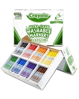 Crayola Ultra-Clean Washable Markers Classpack, Broad Line, 8 Colors, Pack Of 200