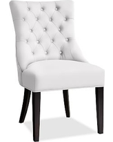 Hayes Tufted Dining Side Chair, Mahogany Frame, Twill White