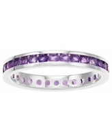 Traditions Sterling Silver Channel-Set Amethyst Birthstone Ring, Women's, Size: 8, Purple