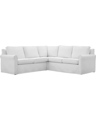 Cameron Roll Arm Slipcovered 3-Piece L-Shaped Corner Sectional, Polyester Wrapped Cushions, Performance Slub Cotton White