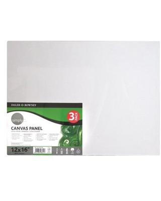 """Daler-Rowney Simply Art Panel Canvas Pack, 12"""" x 16"""", 3 Piece"""
