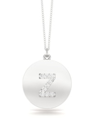 """Noray Designs 14K Gold Diamond (0.07Ct, G-H Color, SI2-I1 Clarity) A-Z Alphabet Initial Pendant, 18"""" Gold Chain (Z - White)"""