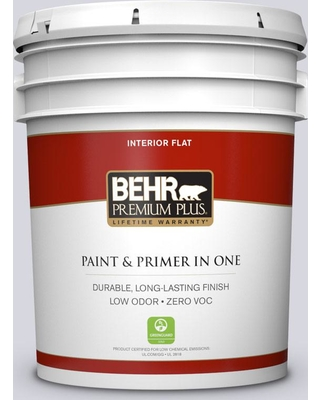 BEHR Premium Plus 5 gal. #MQ3-59 Will O the Wisp Flat Low Odor Interior Paint and Primer in One