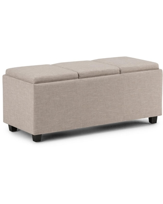 Brooklyn + Max Lincoln 42 inch Wide Contemporary Rectangle Storage Ottoman in Natural Linen Look Fabric