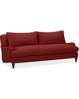 "Carlisle Upholstered Sofa 80"" with Bench Cushion, Polyester Wrapped Cushions, Twill Sierra Red"