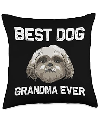 Best Pup Breed & Little Lion Fur Floppy Presents Funny Shih Tzu Gift for Grandma Mama Dog Puppy Owner Animal Throw Pillow, 18x18, Multicolor