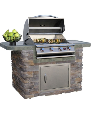 Cal Flame 6 ft. Stone Veneer and Tile Grill Island with 4-Burner Gas Grill in Stainless Steel