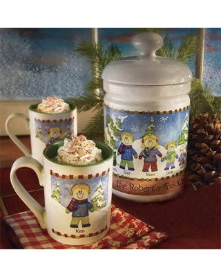 Personalized Winter Family Cookie/Treat Jar