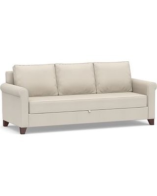 Cameron Roll Arm Upholstered Pull-Up Platform Sleeper Sofa, Polyester Wrapped Cushions, Performance Twill Cream