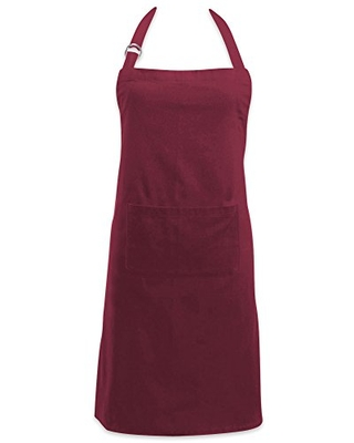 DII Adjustable Neck & Waist Ties with Front Pocket, 32x28 Apron Chino Chef Collection, Wine