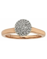 Pink Rhodium-Plated Sterling Silver 1/4-ct. T.W. Diamond Ball Ring, Women's, Size: 7, White