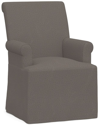 PB Comfort Roll Long Slipcovered Dining Armchair, Espresso Frame, Performance Heathered Tweed Graphite