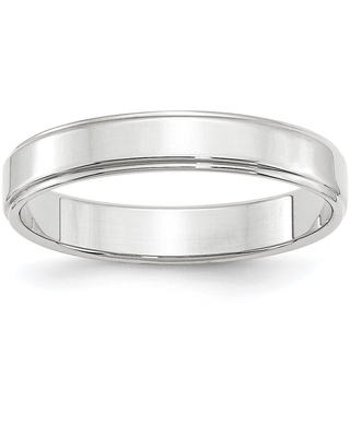 14 Karat White Gold 4mm Flat with Step Edge Band by Versil (4)