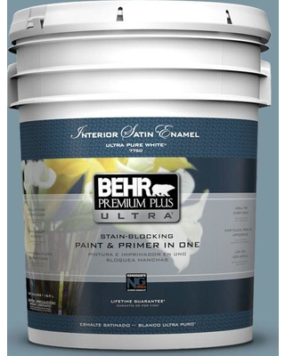 BEHR Premium Plus Ultra 5 gal. #530F-5 Waterscape Satin Enamel Interior Paint and Primer in One