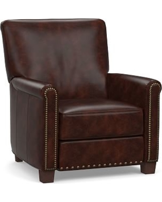 Irving Roll Arm Leather Power Recliner with Bronze Nailheads, Polyester Wrapped Cushions, Legacy Tobacco