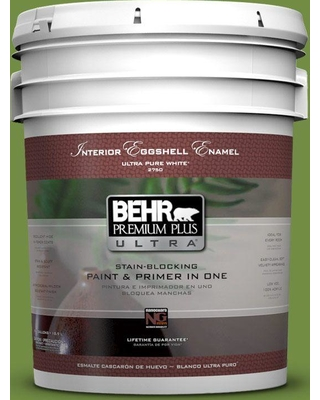 BEHR Premium Plus Ultra 5 gal. #420D-6 Thyme Green Eggshell Enamel Interior Paint and Primer in One