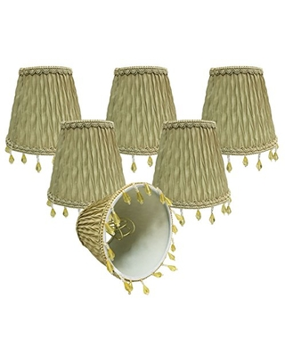 """Royal Designs, Inc CSO-1036-5AGL-6 Royal Designs Chandelier Lamp Shades-3"""" x 5"""" x 4.5""""-Ruche Pleated Empire-Antique Gold-Clip-On-Set of 6, 6 Piece"""