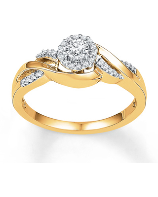 aef4c1f10cae6 Kay Outlet Jewelers Diamond Promise Ring 1/6 ct tw Round-cut 10K Yellow  Gold from Kay Jewelers | People