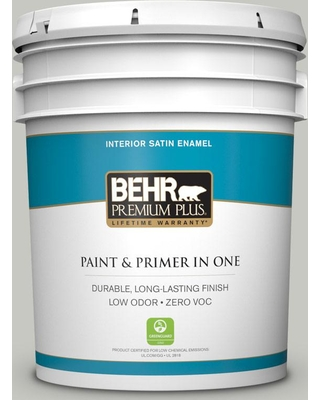 BEHR Premium Plus 5 gal. #ppf-29 Traditional Gray Satin Enamel Low Odor Interior Paint and Primer in One