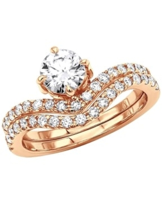 Designer Bridal Engagement Diamond Ring 1.6ctw in 18K Gold by Luxurman (Rose - 6)