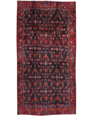 """Pasargad Navy/Red Vintage Lori Collection Hand-Knotted Wool Rug (4' 9"""" X 9' 2"""") - 5' x 9' (Navy - 5' x 9')"""