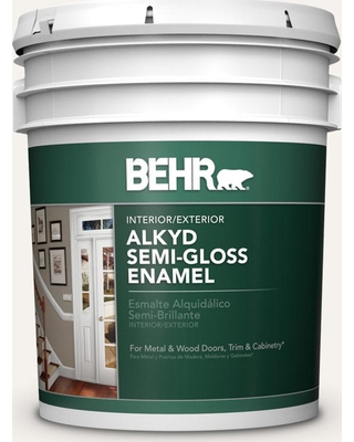 BEHR 5 gal. #730A-1 Smart White Urethane Alkyd Semi-Gloss Enamel Interior/Exterior Paint