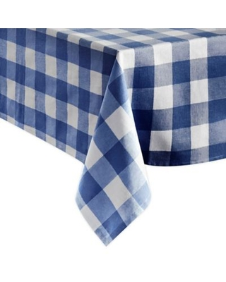 Farmhouse Living Buffalo Check 60-Inch x 120-Inch Oblong Tablecloth in Blue