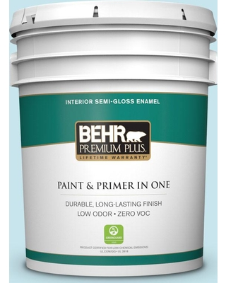 BEHR PREMIUM PLUS 5 gal. #M480-2A Winterscape Semi-Gloss Enamel Low Odor Interior Paint and Primer in One