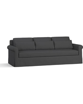 "York Roll Arm Slipcovered Deep Seat Grand Sofa 98"" with Bench Cushion, Down Blend Wrapped Cushions, Premium Performance Basketweave Charcoal"