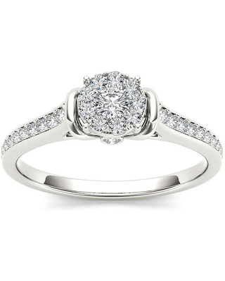 1/CT. T.W. Diamond 10K White Gold Round Cluster Engagement Ring, 6
