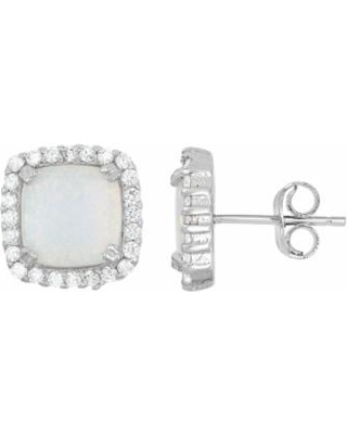 Lab-Created Opal & Cubic Zirconia Sterling Silver Square Halo Stud Earrings, Women's, White