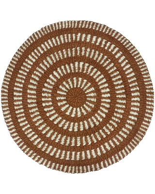 Round Rust Brown and Ivory Geometric Woven Jute Area Rug by World Market