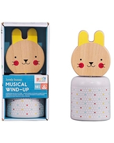 Petit Collage Baby Wooden Wind-Up Musical Toy Bunny – Cute Animal Toy for Ages 18 Months and Older – Sooths Baby with Brahms' Lullaby – Make an Inspired Gift for New Moms