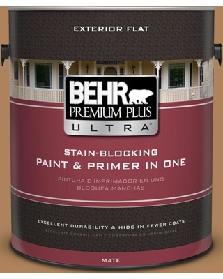 BEHR ULTRA 1 gal. #S260-6 Circus Peanut Flat Exterior Paint and Primer in One