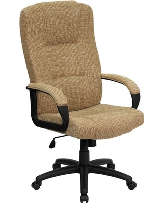 Flash Furniture High Back Beige Fabric Executive Swivel Office Chair with Arms