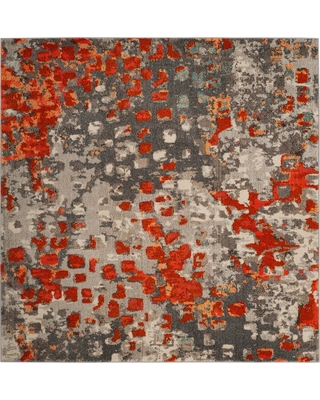 Safavieh Monaco Gray Orange 7 Ft Square Area Rug